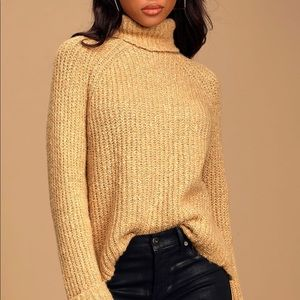 NEW Lulus Tan Yellow Turtleneck Sweater